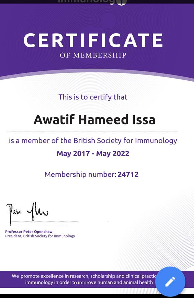 An academic chosen from university of Basrah as a member of the British Society of Immunology