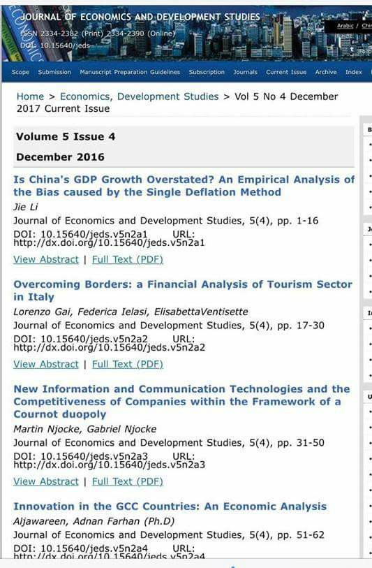 An academic at university of basrah publishes research in Journal of Economics and Development studies